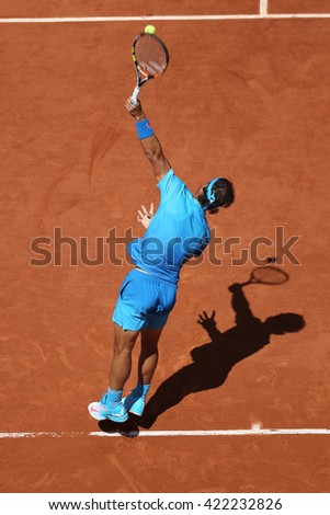 PARIS, FRANCE- MAY 30, 2015:Fourteen times Grand Slam champion Rafael Nadal in action during his third round match at Roland Garros 2015 in Paris, France