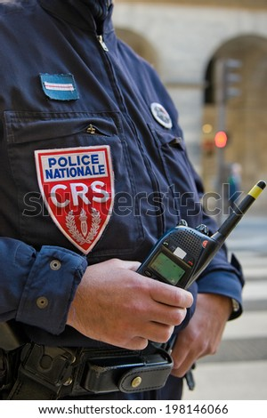 PARIS, FRANCE - MAY 20, 2014 - French policeman, CRS, in faction from anti riot forces in Paris - stock photo