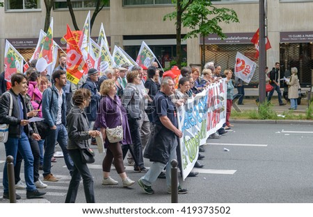 Paris, France - May 12, 2016 - French unions and students protest in Paris, France after the government forced through controversial labour reforms. - stock photo
