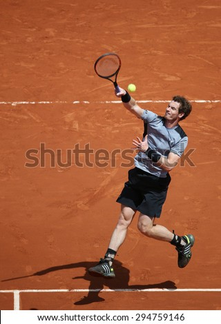 PARIS, FRANCE- MAY 30, 2015: Grand Slam champion Andy Murray in action during his third round match at Roland Garros 2015 in Paris, France