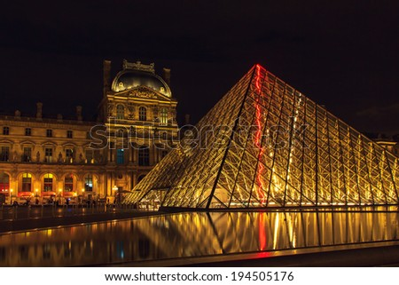 PARIS, FRANCE - MAY 9, 2014: Louvre Museum (Musee du Louvre) and the Pyramid in Paris, France, at night illumination. Louvre is the most famous and visited Museum in Paris.