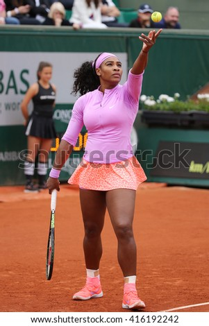 PARIS, FRANCE- MAY 28, 2015: Nineteen times Grand Slam champion Serena Williams in action during her second round match at Roland Garros 2015 in Paris, France - stock photo