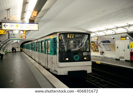 PARIS, FRANCE - MAY 13: Paris Metro interior on May 13, 2015. It is the second-busiest subway system in Europe, after Moscow. - stock photo