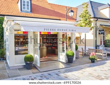 PARIS, FRANCE - MAY 10, 2017 : Pierre Herme Paris boutique in La Vallee Village.