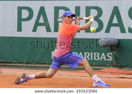 PARIS, FRANCE- MAY 24, 2015: Professional tennis player Dudi Sela of Israel in action during his first round match at Roland Garros 2015 in Paris, France - stock photo