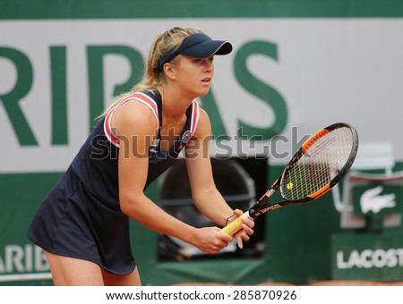PARIS, FRANCE- MAY 31, 2015: Professional tennis player Elina Svitolina of Ukraine during fourth round match at Roland Garros 2015 in Paris, France - stock photo