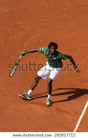 PARIS, FRANCE- MAY 27, 2015: Professional tennis player Gael Monfis  of France during second round match at Roland Garros 2015 in Paris, France