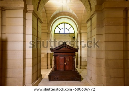 Paris, France - May 17, 2017: Rousseau  tomb inside the crypts (underground) of French Mausoleum for Great People of France - the Pantheon in Paris, France.