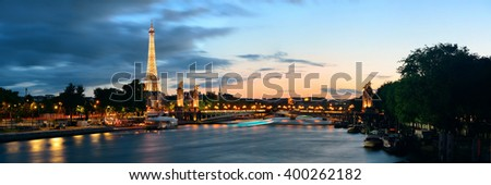 PARIS, FRANCE - MAY 13: Seine river night view on May 13, 2015 in Paris. With the population of 2M, Paris is the capital and most-populous city of France. - stock photo