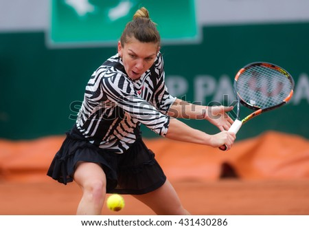 PARIS, FRANCE - MAY 31 : Simona Halep in action at the 2016 French Open