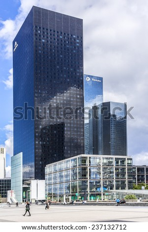 PARIS, FRANCE - MAY 13, 2014: Skyscrapers in business district of Defense to the west of Paris. Defense is biggest business district in France and most of large companies have offices here.