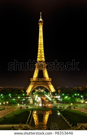 PARIS, France - MAY 29: The Eiffel tower at night on May 29, 2008 in Paris seen from the Trocadero. The Eiffel tower is the most visited monument of France.