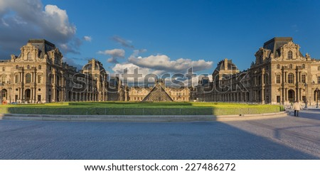 Paris, France - May 15, 2014: The Louvre Museum is one of the world's largest museums and a historic monument. A central landmark of Paris, France.