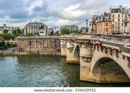 PARIS, FRANCE - MAY 8, 2014: The picturesque embankment of the Seine River. Paris, France. - stock photo