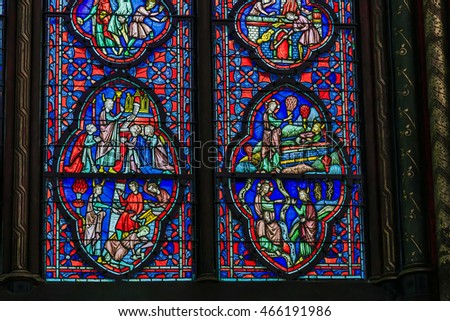 PARIS, FRANCE - MAY 13, 2015: This is the stained glass windows from the interior of the upper part of the chapel of Saint Chapelle.