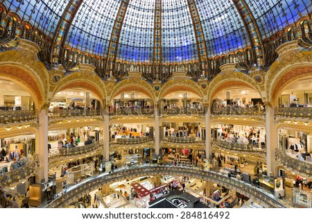 PARIS, FRANCE - MAY 29: Unknown people shopping in famous  luxury Lafayette department store on May 29, 2015 in Paris, France