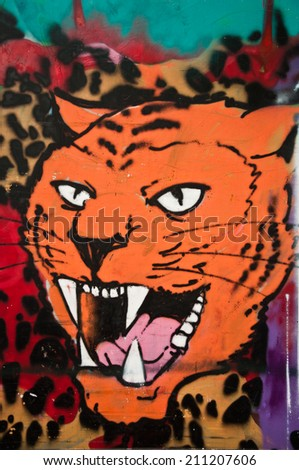 Paris - France - 27 May 2013 - urban art - tiger - stock photo