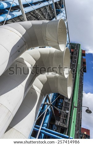 PARIS, FRANCE - MAY 13, 2014: Ventilation pipes outside the Centre Georges Pompidou. Centre Georges Pompidou (1977) was designed in style of high-tech architecture.