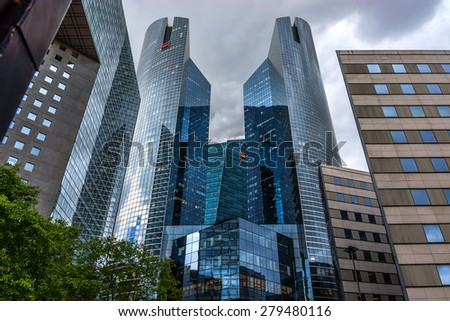 PARIS, FRANCE - MAY 13, 2014: View of Societe Generale headquarter (SG) in La Defense district, Paris. Societe Generale is a French multinational banking and financial services company. - stock photo