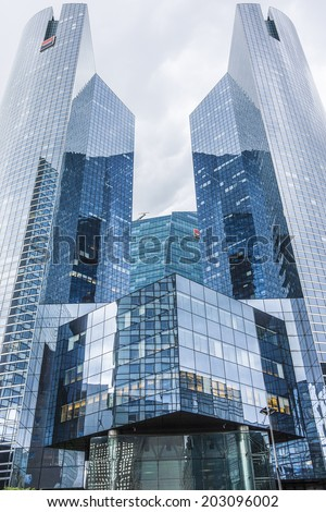 PARIS, FRANCE - MAY 13, 2014: View of Societe Generale headquarter (SG) tours in La Defense district, Paris. Societe Generale is a French multinational banking and financial services company.