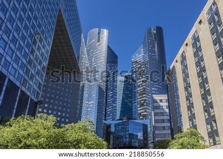 PARIS, FRANCE - MAY 15, 2014: View of Societe Generale headquarter (SG) tours in La Defense district. Societe Generale is a French multinational banking and financial services company. - stock photo
