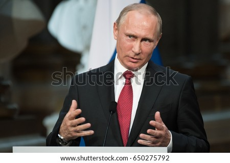 PARIS, FRANCE - MAY 29, 2017 : Vladimir Putin, the President of Russian Federation in press conference at the Palace of Versailles in the Battles gallery after a working visit with french President.
