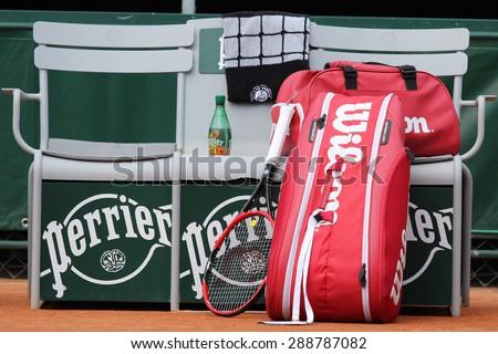 PARIS, FRANCE- MAY 29, 2015: Wilson racquet and  tennis bag at Le Stade Roland Garros in Paris.  - stock photo