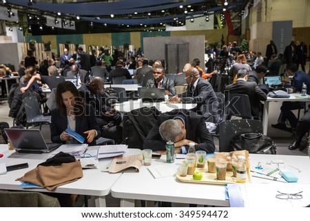 PARIS, FRANCE - Nov 30, 2015: Hard work in the press centre during the 21st session of the UN Conference on Climate Change - stock photo