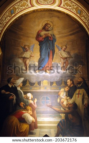 PARIS, FRANCE - NOV 09, 2012: Jesus good shepherd, Holy Trinity church is a Catholic church located in the 9th arrondissement. The church of the Second Empire period, built between 1861 and 1867 - stock photo