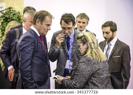 PARIS, FRANCE - Nov 30, 2015: President of the European Council, Donald Tusk in the course of the UN Climate Conference