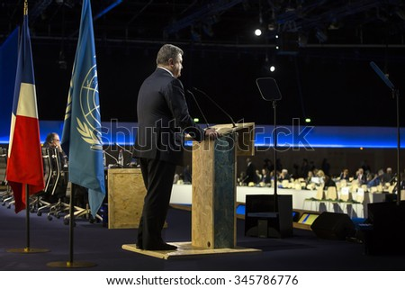 PARIS, FRANCE - Nov 30, 2015: Speech by the President of Ukraine Petro Poroshenko at the 21st session of the UN Conference on Climate Change - stock photo