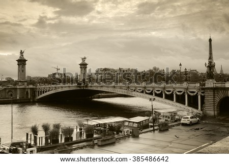 PARIS, FRANCE - NOVEMBER 19, 2016: A black and white image of the Alexander lll bridge in Paris France. - stock photo