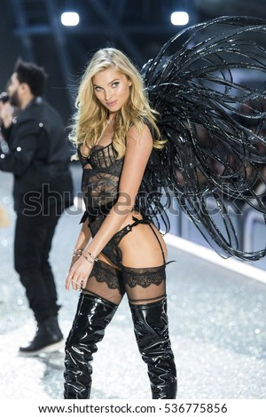PARIS, FRANCE - NOVEMBER 30: Elsa Hosk walks the runway during the 2016 Victoria's Secret Fashion Show on November 30, 2016 in Paris, France.