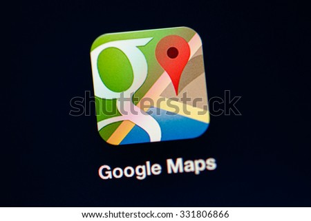 PARIS, FRANCE - NOVEMBER 13: Google updated Google Maps with helpful features that will make exploring a new city or simply commuting a bit smoother - stock photo