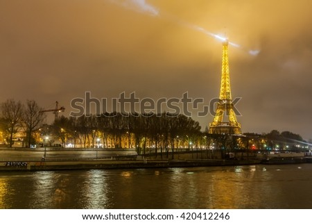 Paris France, November 2014: Holiday in France - Eiffel Tower during winter Christmas Night View