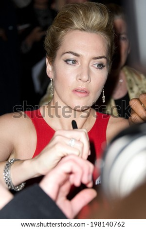 PARIS, FRANCE - NOVEMBER 20, 2011 - Kate Winslet at the French premiere of his film Carnage at Gaumont Champs Elysee theater - stock photo