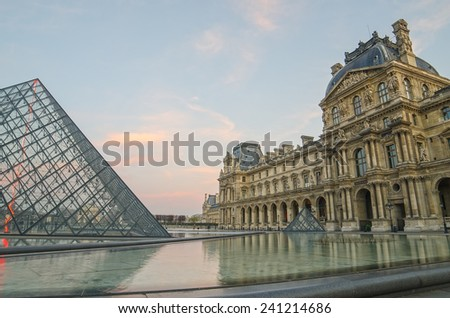PARIS, FRANCE 29 NOVEMBER, 2014: Louvre in the sunrise.