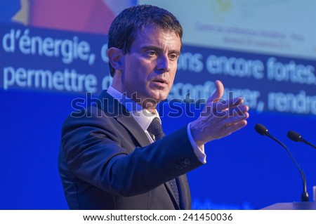 PARIS, FRANCE - NOVEMBER 28, 2014 : Prime Minister Manuel Valls during the environmental conference organized by Segolene Royal under COP21 - stock photo