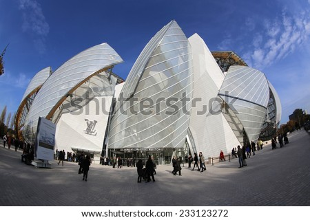 PARIS, FRANCE � NOVEMBER 22, 2014: The Building of the Louis Vuitton Foundation in Paris. This Building was opened at October 2014 and is the new Attraction in Paris - stock photo