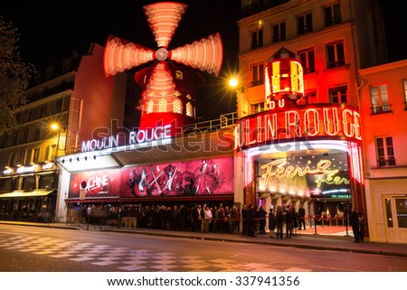 Paris, France-November 02, 2015 : The cabaret Moulin Rouge close to Montmartre in the Paris district of Pigalle on boulevard Clichy in the 18th arrondissement .