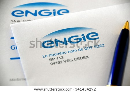 Paris, France â?? November 20, 2015 : This picture shows the new name of French electricity and gas company GDF SUEZ, Engie, on a letter.