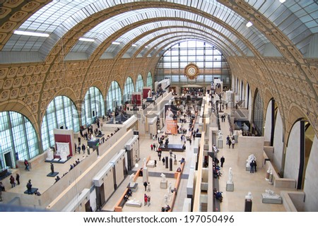 PARIS, FRANCE - November 2: view of the interior of Musee d'Orsay in Paris, France on November 2, 2012. The museum has the largest collection of impressionist art in the world.  - stock photo
