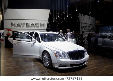 PARIS, FRANCE - OCT 10:  Maybach 57S on display at the Paris Motor Show at Porte de Versailles on October 10, 2010 in Paris France.