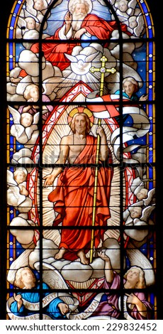 PARIS, FRANCE - OCT. 19: Stained glass window in the Church of Saint-Merri is a small church in Paris, located on the busy street Rue Saint Martin, on the Right Bank. Paris, France, on oct. 19, 2014,