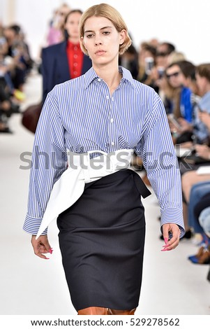 PARIS, FRANCE - OCTOBER 02: A model walks the runway during the Balenciaga designed by Demma Gvasalia show as part of the Paris Fashion Week SS 2017 on October 2, 2016 in Paris, France.
