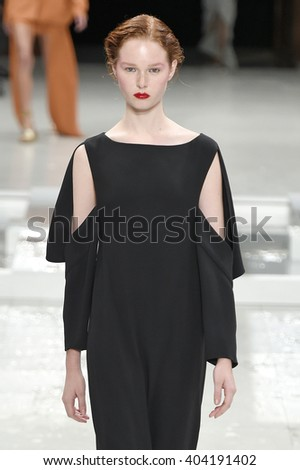 PARIS, FRANCE - OCTOBER 02: A model walks the runway during the Chalayan show as part of the Paris Fashion Week Womenswear Spring/Summer 2016 on October 2, 2015 in Paris, France. - stock photo