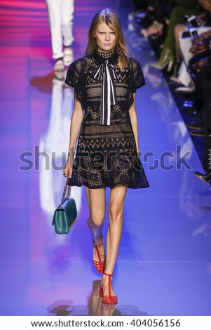 PARIS, FRANCE - OCTOBER 03: A model walks the runway during the Elie Saab show as part of the Paris Fashion Week Womenswear Spring/Summer 2016 on October 3, 2015 in Paris, France.