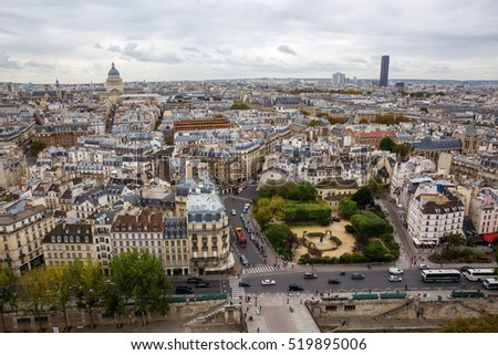 Paris, France - October 19, 2016: aerial view over Paris. Paris is the capital of France and one of Europes major centres of finance, commerce, fashion, science, and the arts