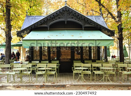 """PARIS, FRANCE - OCTOBER 18 : Cafe """"Le Pavillon de la Fontaine"""" in the middle of the Luxembourg garden - a place to relax and watch the world go by on October 18, 2013 in Paris, France - stock photo"""