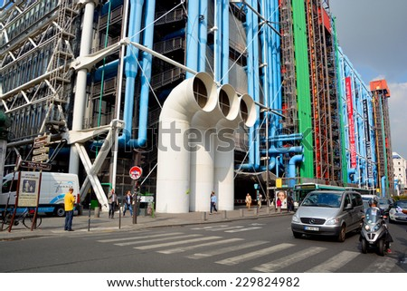 PARIS, FRANCE OCTOBER 20, 2014: Centre Georges Pompidou in Paris, France. The postmodern structure completed in 1977 is one of most recognizable landmarks in Paris.  - stock photo